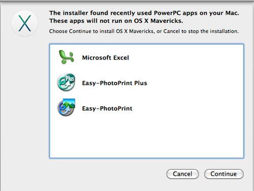 MacOS X Mavericks (マーベリックス)のインストール警告画面