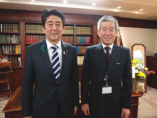 旭酒造桜井社長と安倍晋三